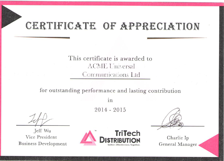 "ACME is awarded the ""Outstanding performance and lasting contribution 2014 – 2015"" by the TriTech Distribution"